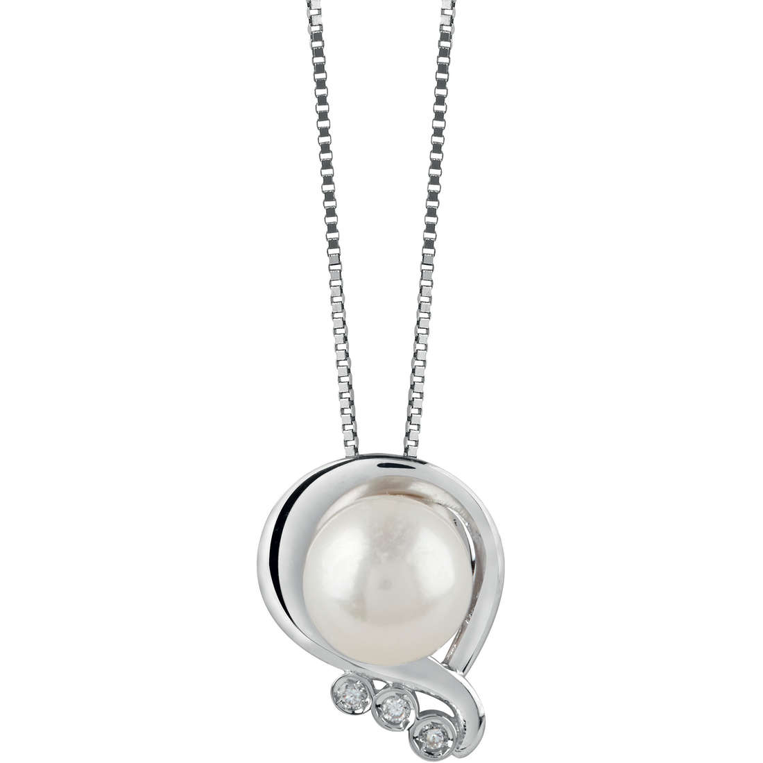 Bliss Necklace white gold with pearl and diamonds 20073767
