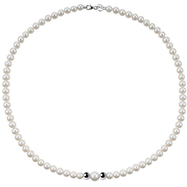 Bliss Necklace pearl river with inserts of white gold 20067152