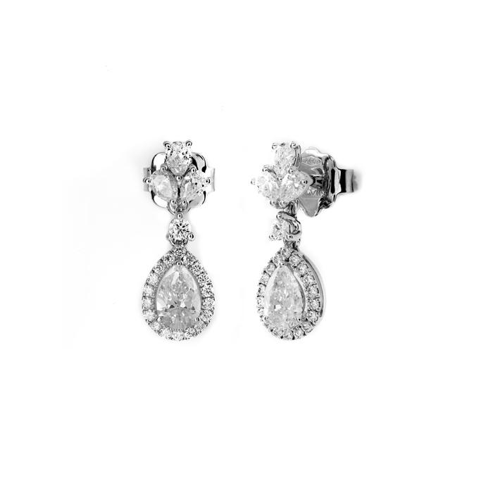 SALVINI Boucles d'oreilles en or blanc et diamants ct 1,9 Collection Lauren 20085816
