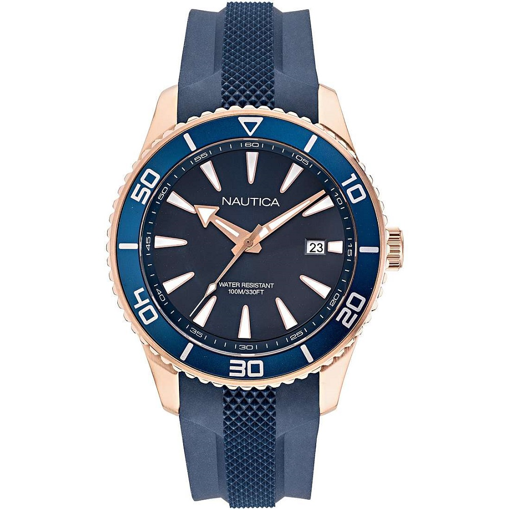 Nautica Watch Only Time Man blue strap steel case NAPPBF915