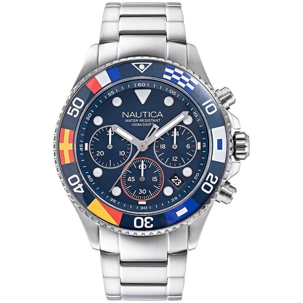Nautica Chronograph Men stainless steel ring with flags NAPWPF909
