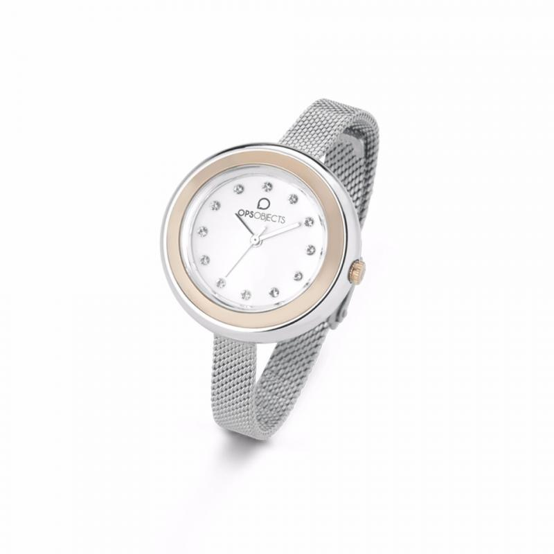 OPS watch woman white dial strap stainless steel OPSPW-412-2700