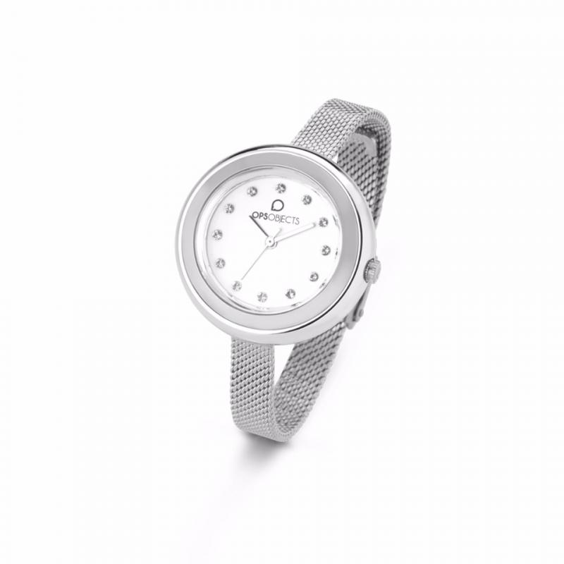 OPS watch woman white dial strap stainless steel OPSPW-410-2700