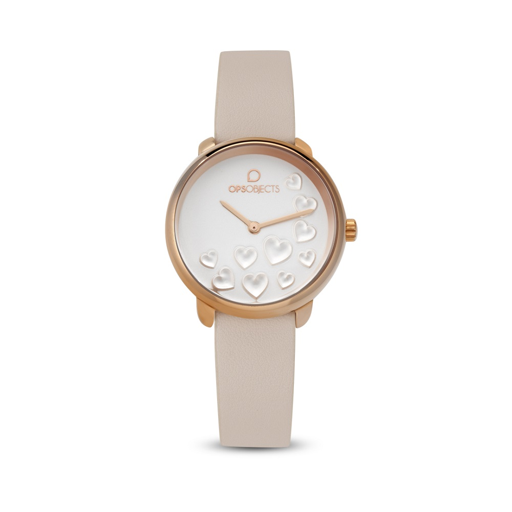 OPS watch only time woman with hearts in white dial OPSPW-58-2400