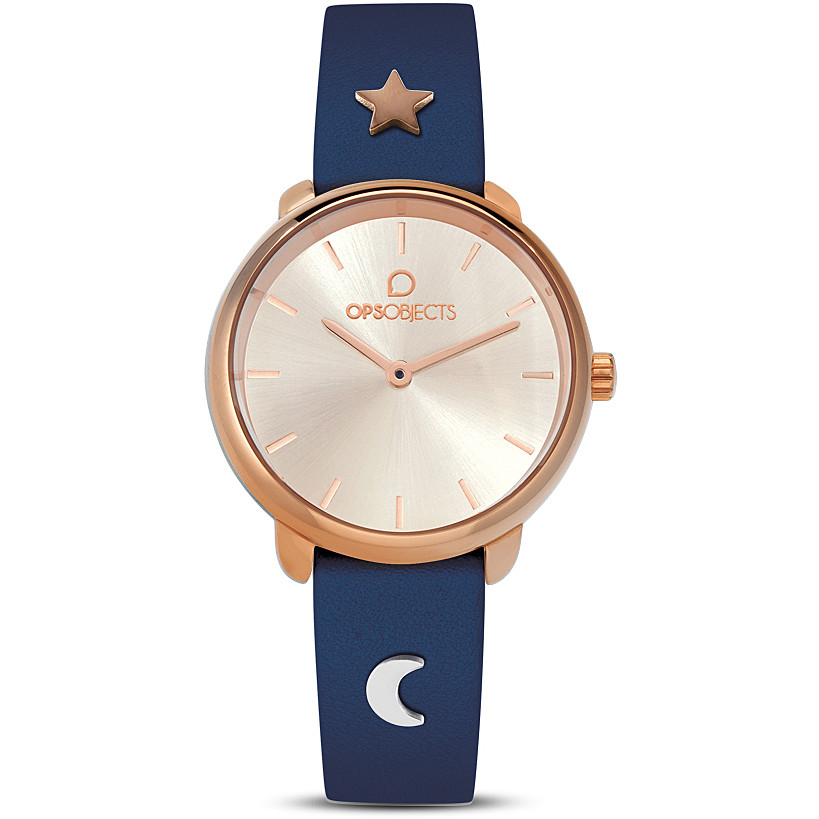 OPS woman Watch blue strap with charm moon and star OPSPW-618-2700