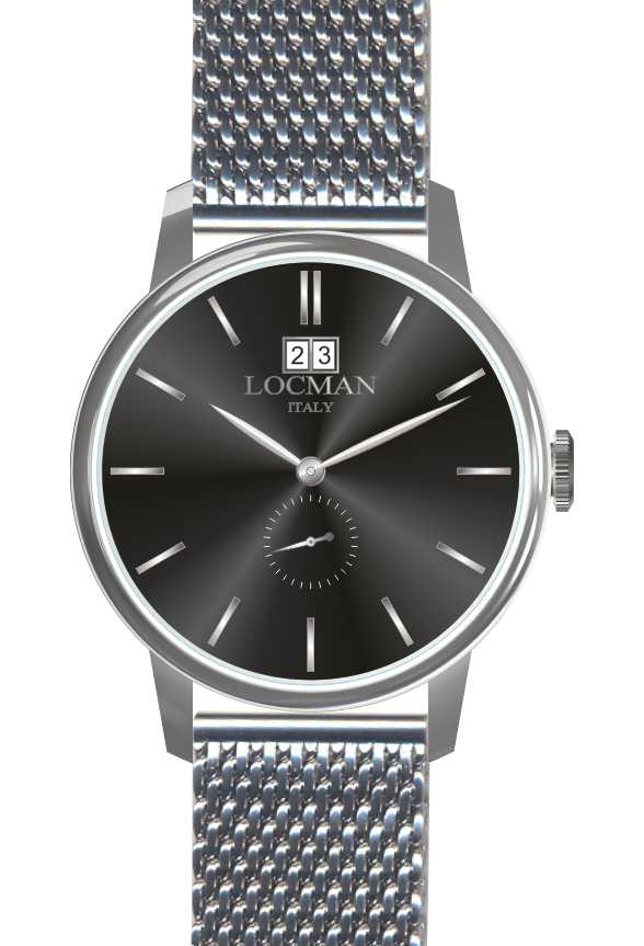 Locman watch only time steel mesh milan 0252V01-00BKNKB0