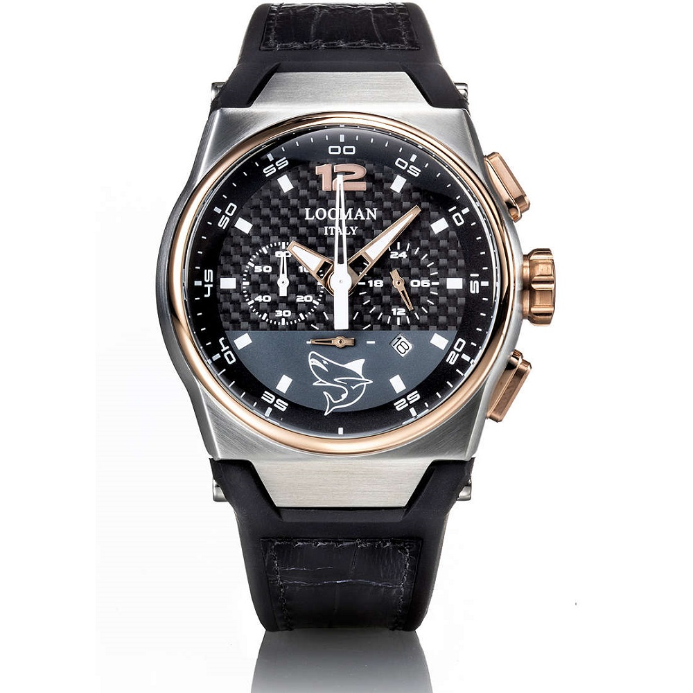 Locman Chronograph Men stainless Steel Case black leather strap 0555M09R-0RCBRGGPK