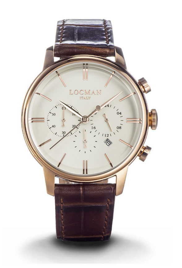 Locman Chronograph Men Steel Case leather strap brown 0254R05R-RRAVRGPT