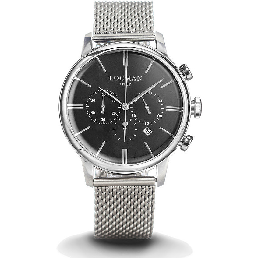 Locman Men's Chronograph With stainless Steel Case mesh milan 0254A01A-00BKNKB0