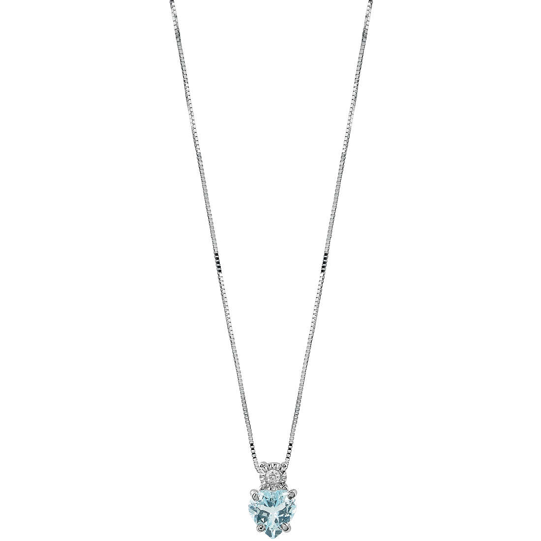 Bliss ladies Necklace In White Gold With Diamond and Aquamarine 20086600