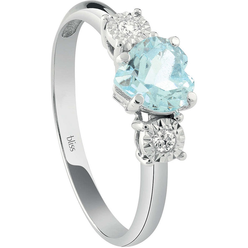 Bliss Ring Woman White Gold With Diamond And Aquamarine 20086601