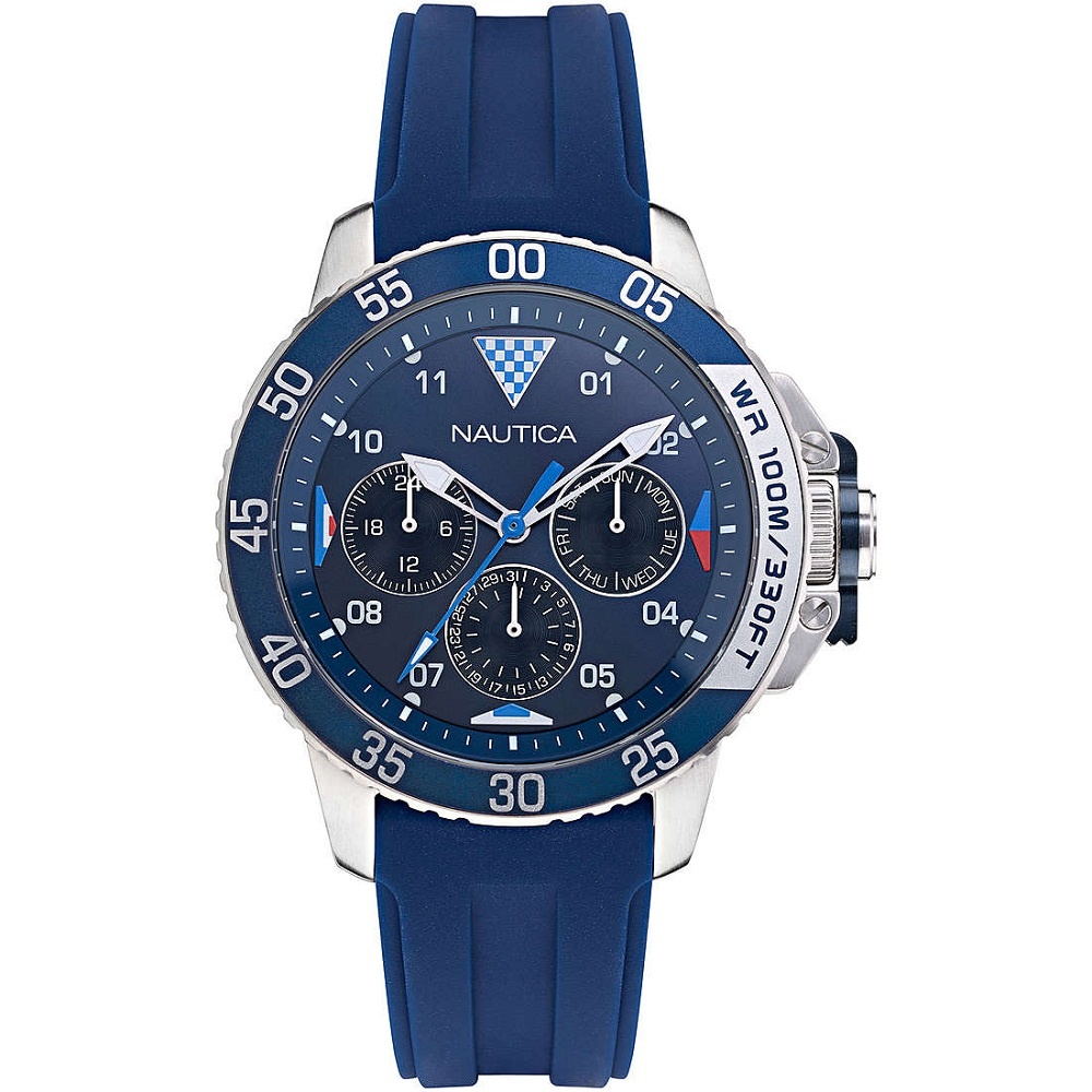 Nautica multifunction watch man case stainless steel strap blue NAPBHS009