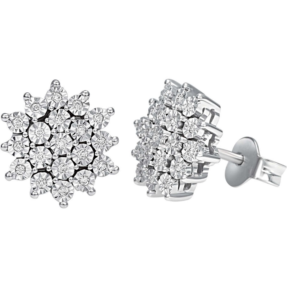 Bliss earrings white gold and diamonds flower shape 20067365