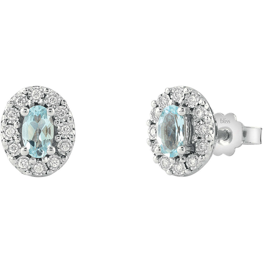 Bliss earrings in white gold with diamonds and aquamarine stone 20086202