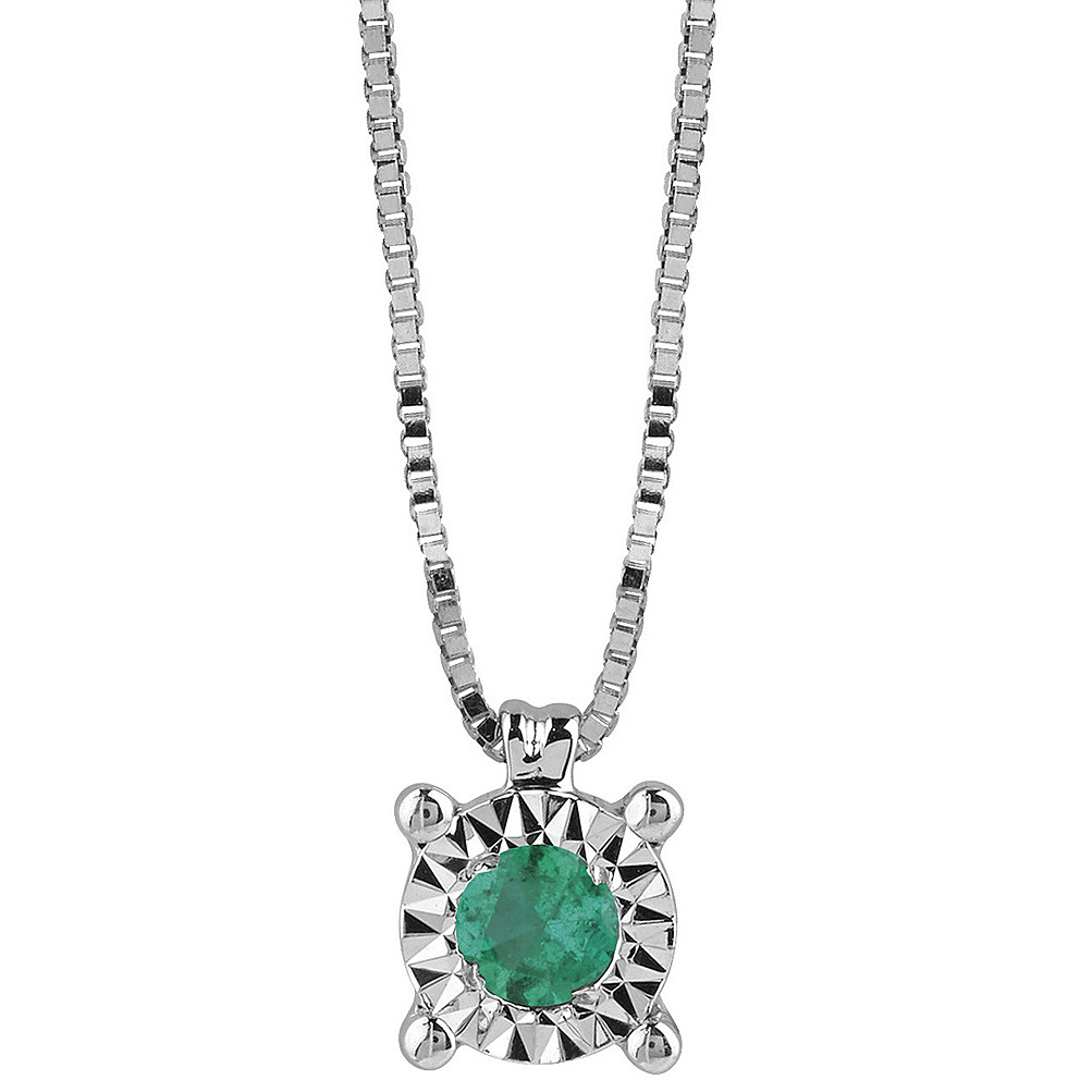 Bliss collierino white gold and diamonds with emerald 20081338