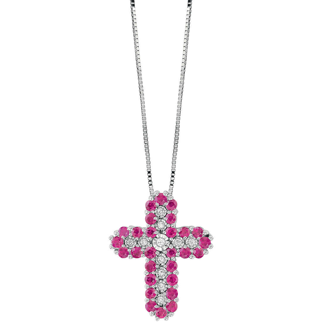 Bliss necklace cross white gold and diamonds and rubies 20086580