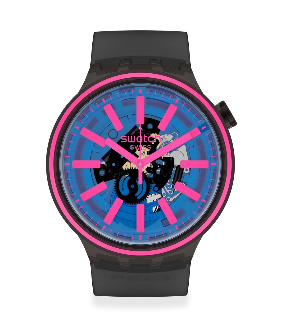 WATCH man watch transparent dial indexes color fuxia SO27B111