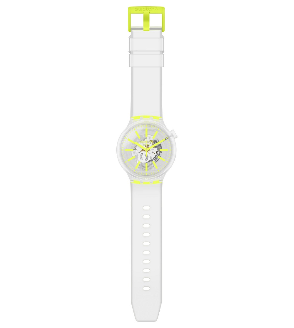 Swatch man watch completely transparent with indices of a yellow-SO27E103