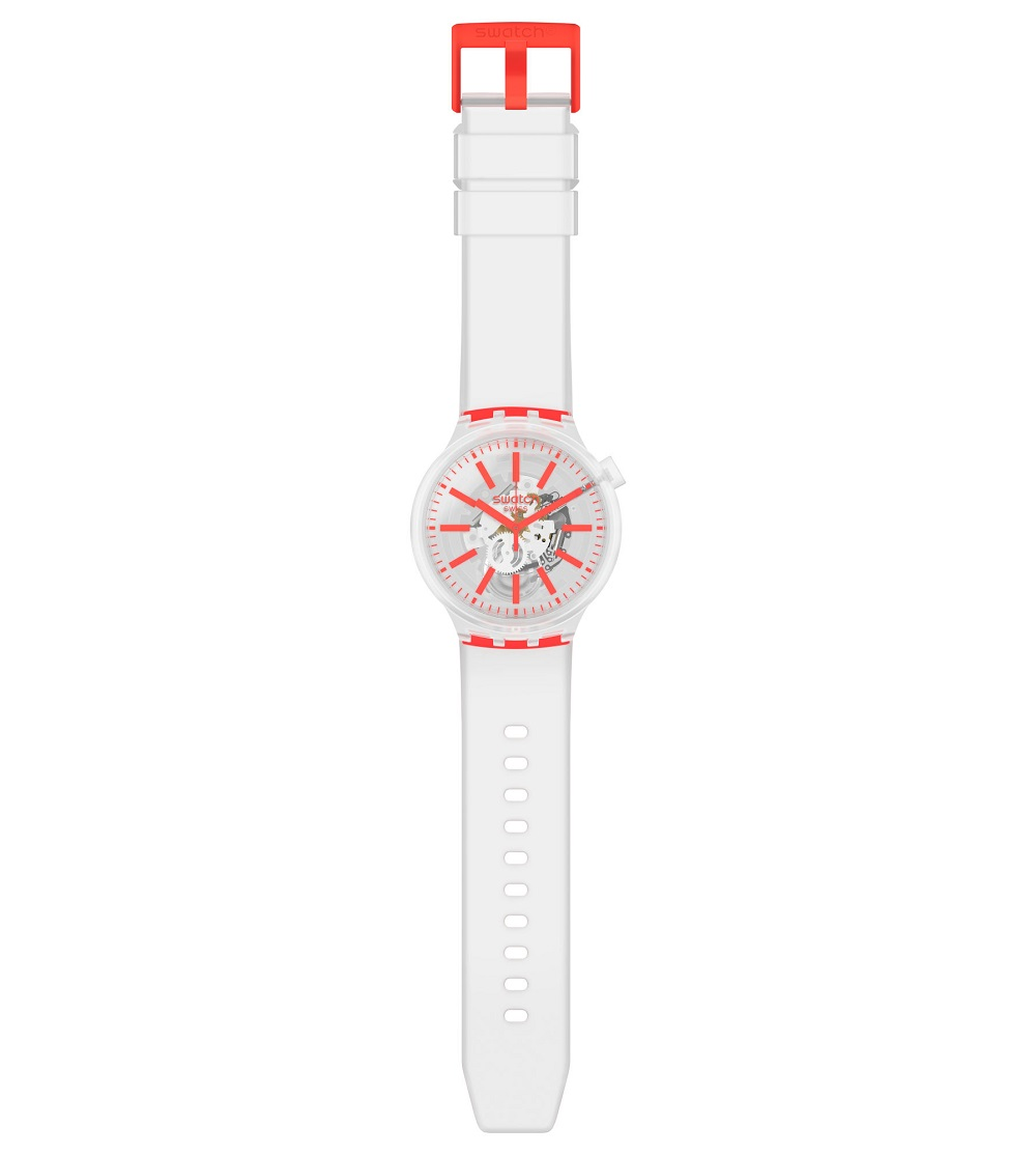 Swatch mens watch with transparent color indexes orange SO27E102