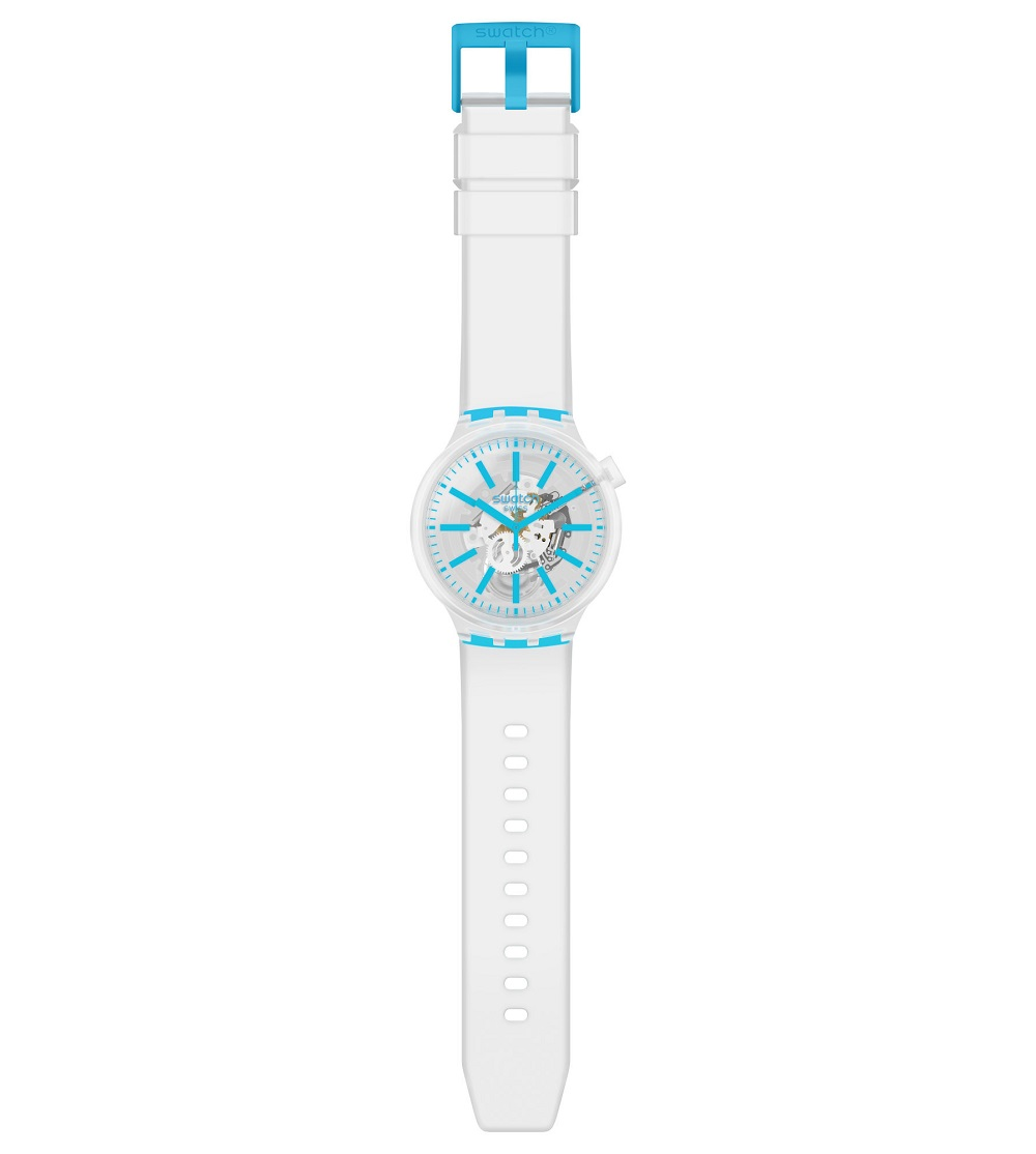 Swatch man watch transparent with indices coloren blue SO27E105