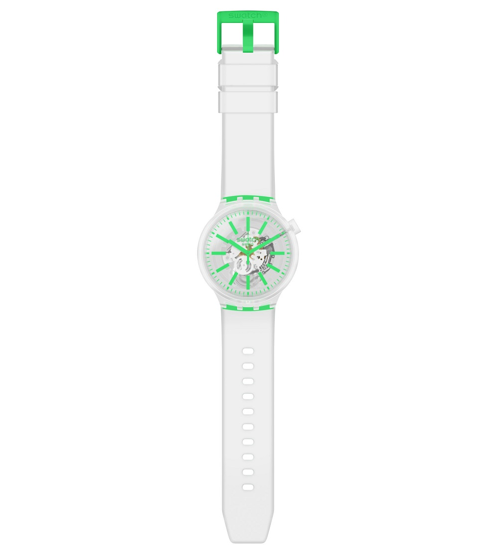 Swatch mens watch with transparent color indexes green SO27E104