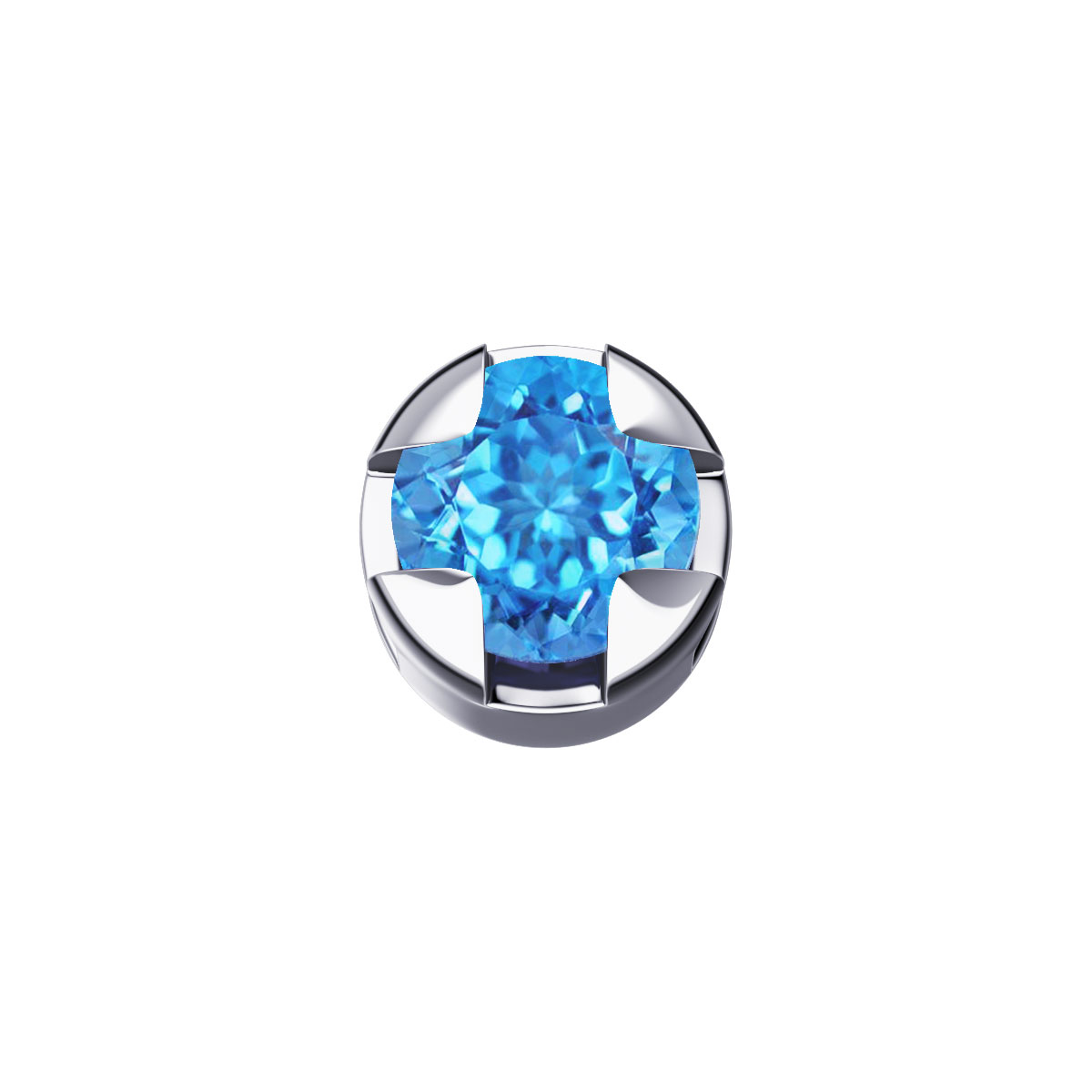 ELEMENTS PRONG ROUND WHITE GOLD AND BLUE TOPAZ DCHY5504