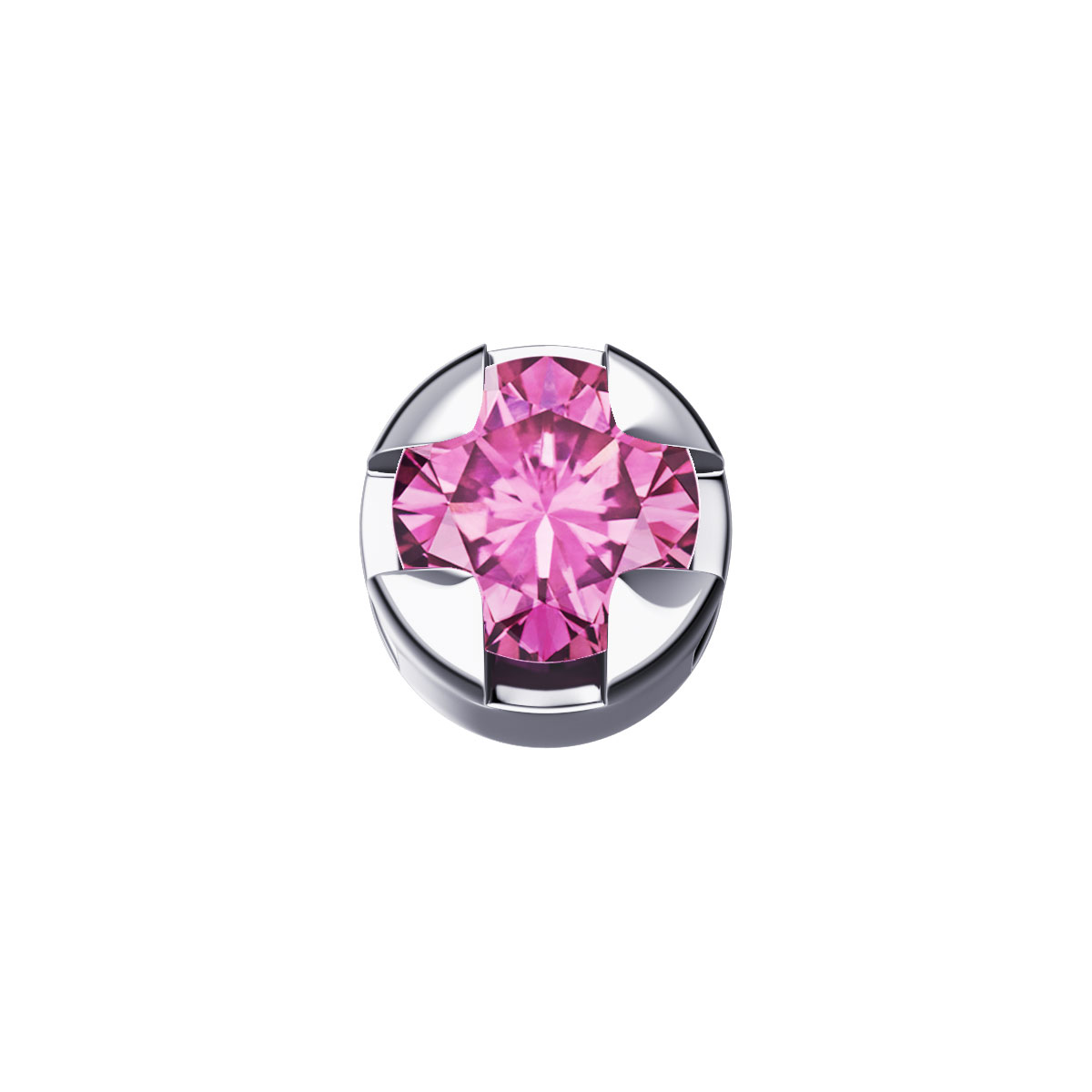 ELEMENTS PRONG ROUND WHITE GOLD AND PINK SAPPHIRE BLUE DCHY5505