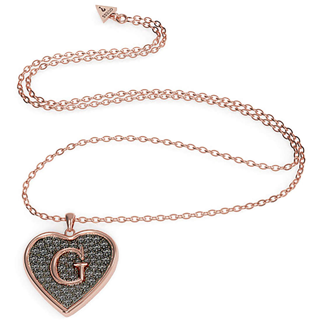 Guess necklace women with pendendente heart with letter G UBN79041