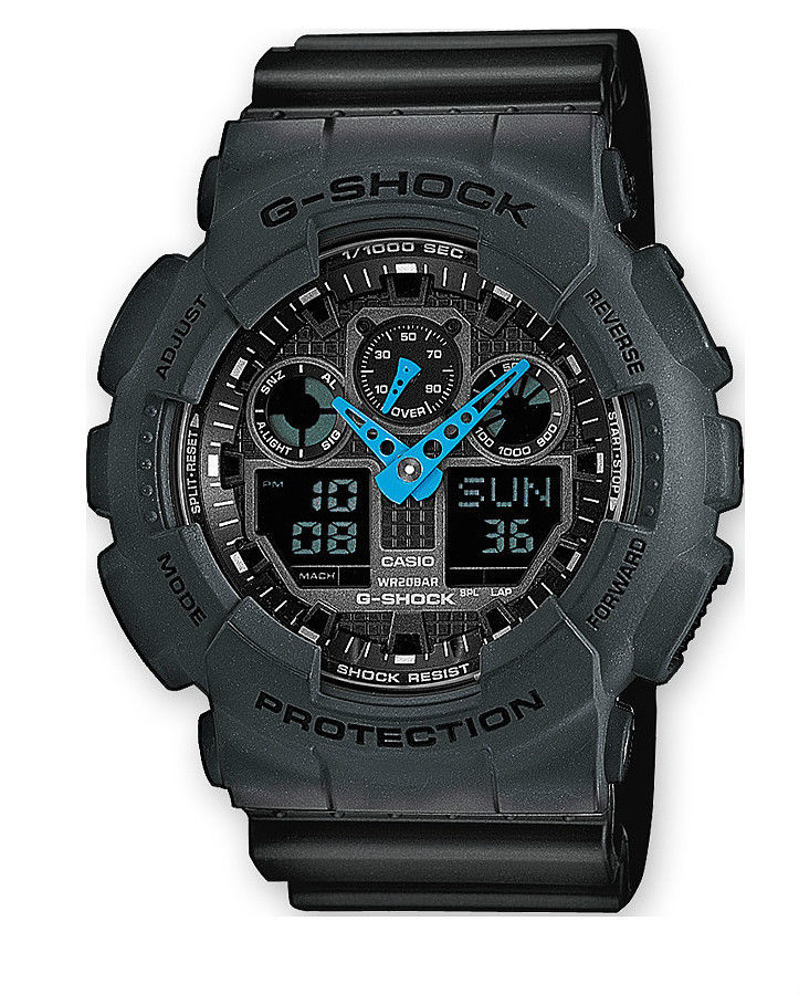 CASIO CHRONO G-SHOCK MENS WATCH ALARM SPEED CHRONOGRAPH GA-100C-8AER