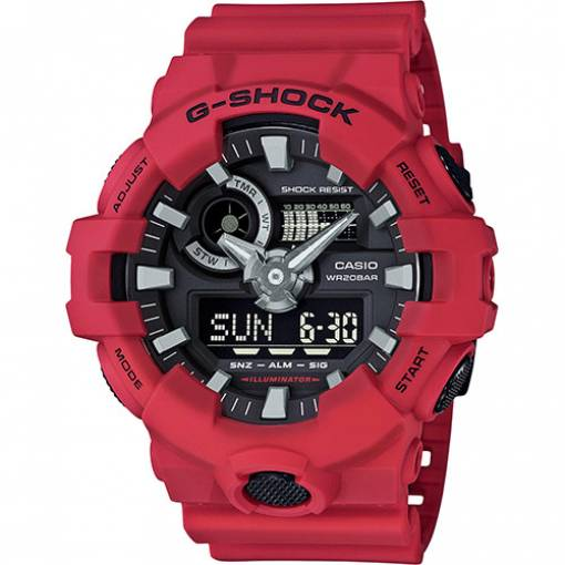 CASIO G-shock mens watch 20bar chrono alarm calendar red GA-700-4AER