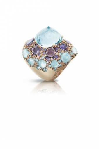 Pasquale Bruni gold ring sapphires diamonds semi-precious stones 15151R