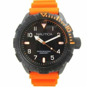 BOATING SUB 100mt MAN watch cint. rubber case 44mm orange NAD10082G