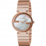 GUCCI watch women's INTERLOCKING stainless steel and rose gold YA133515