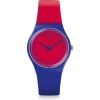 Woman watch SWATCH blue dial red BLUE LOOP GS148 case 34mm