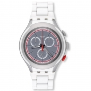 Chronograph SWATCH watch white man WHITE ATTACK SUSJ401 YYS4019AG 42mm