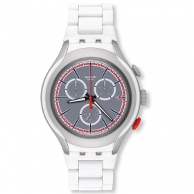 Chronograph uhr SWATCH herren weiß WHITE ATTACK SUSJ401 YYS4019AG 42mm