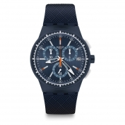Chronograph watch SWATCH men's blue RACE AT BLUE SUSN410 new collection 42mm