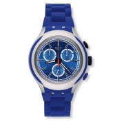 Chronograph watch SWATCH man blue BLUE ATTACK YYS4017AG new collection 45mm