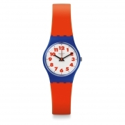 Woman watch SWATCH red dial white background WASWOLA LS116 case 25mm