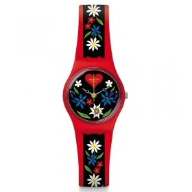 Woman watch SWATCH red dial bl