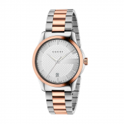 GUCCI man watch G-TIMELESS stainless steel silver rose gold 38mm YA126447