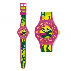 Man watch SWATCH camouflage pi