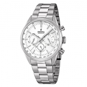 FESTINA chronograph watch man F16820/1 stainless steel white dial case 44 mm