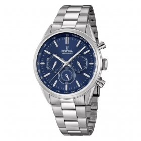 FESTINA chronograph watch man F16820/2 steel blue dial case 44 mm
