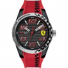 SCUDERIA FERRARI only time man watch RED REV-T chess 44mm FER0830338