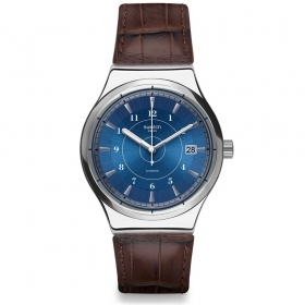 SWATCH watch automatic man classic blue leather SISTEM FLY YIS404 date 42mm