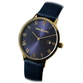 CESARE PACIOTTI Man Watch steel blue fabric date cash gold 42 mm TSST111