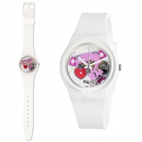 Woman watch Swatch transparent