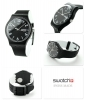Man watch classic Swatch color black SUOB715 BACKUP BLACK date 41 mm