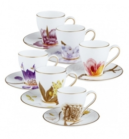 Royal Copenhagen service x6 cups coffee Flora 2671046